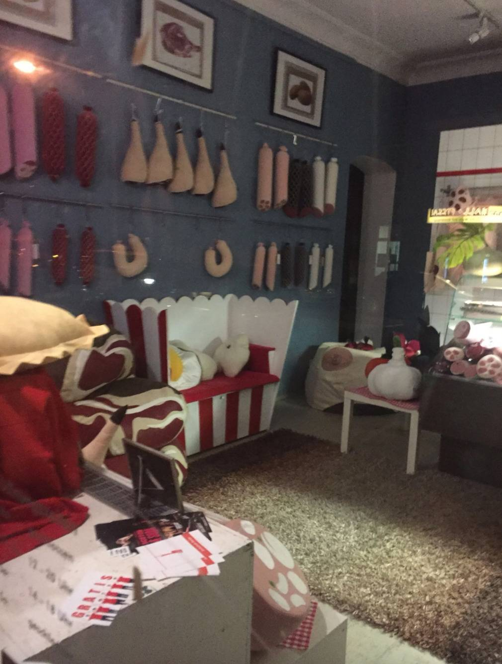store sells stuffed toys and pillows shaped like meat cuts and sausages