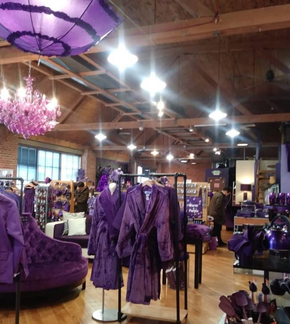 store with only purple things inside