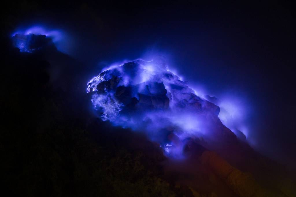 blue fire on a volcano
