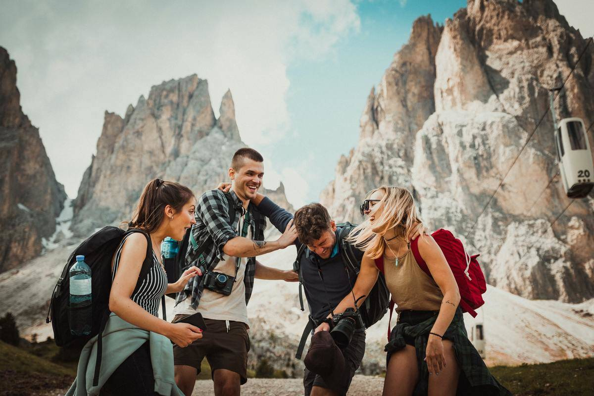tourists laughing and smiling