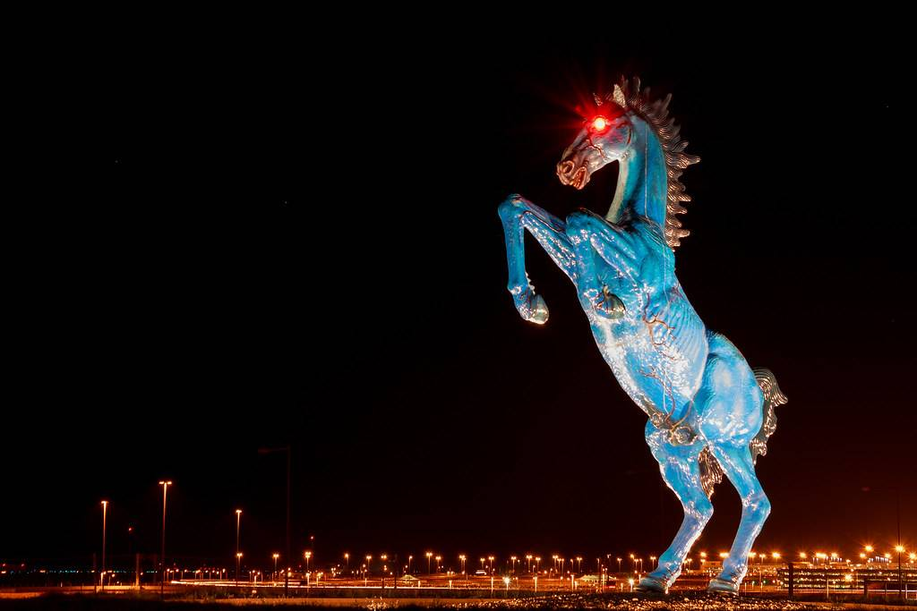 the Blue Mustang at Denver airport