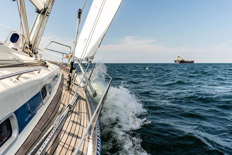 yacht sailing through water