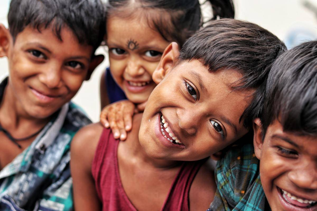 group of indian children laughing