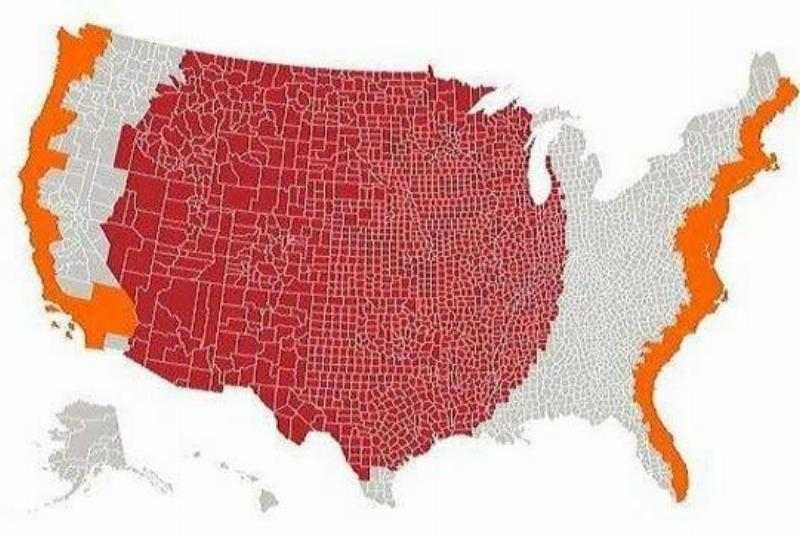 The Population Of Middle America = Both Coasts
