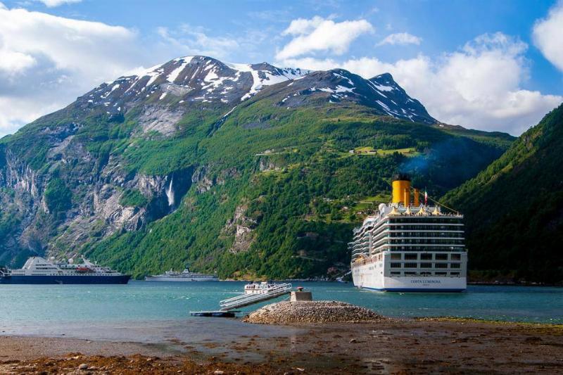 cruise ship going through mountains