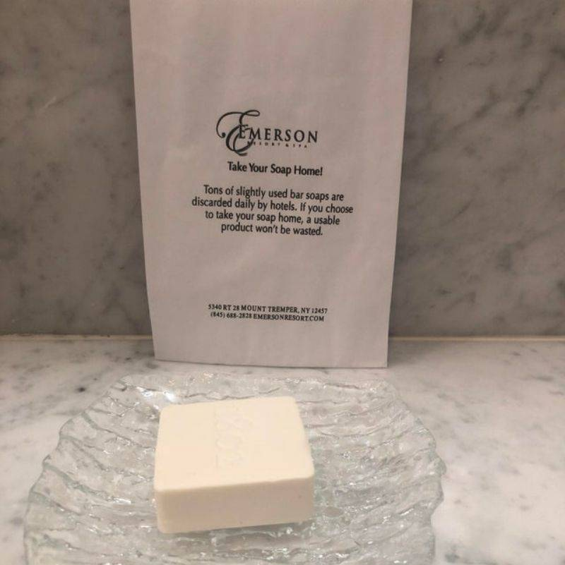 a hotel encouraging guests to take home the soap