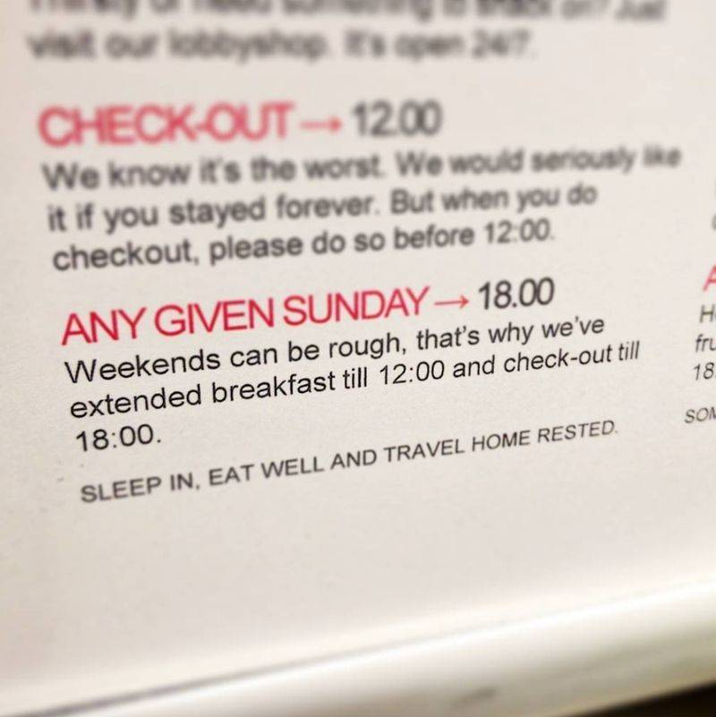 a hotel offers later check out times on the weekend