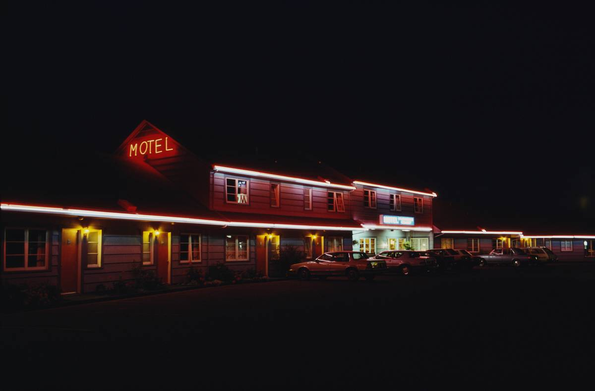 A motel at night