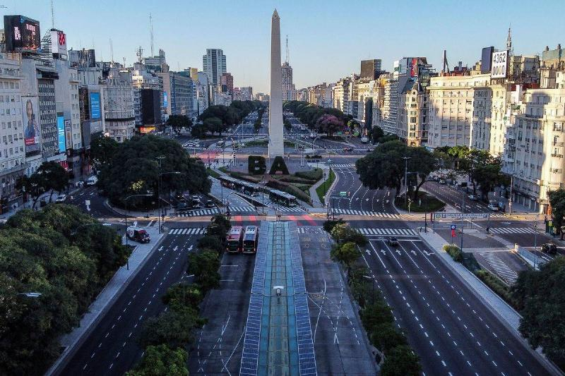 Aerial view of the empty 9 de Julio avenue in Buenos Aires