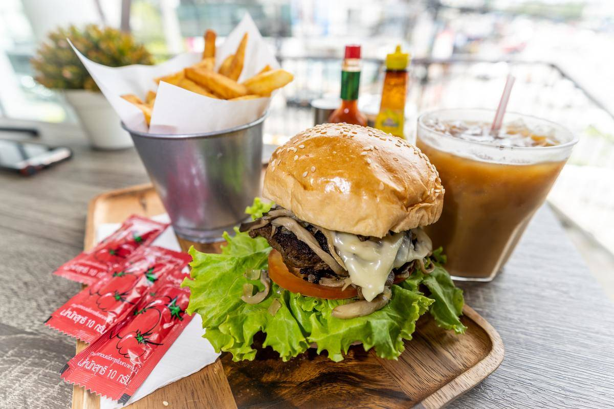 burger, fries, and drink