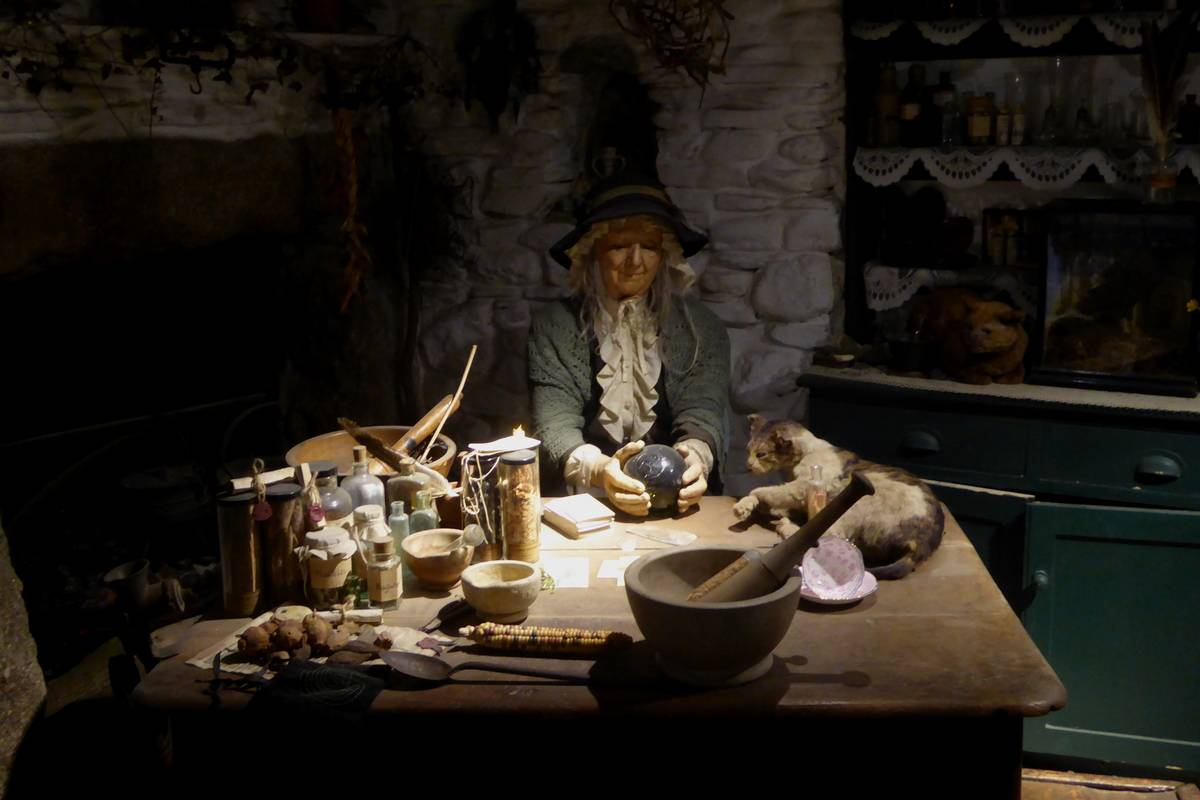 diorama of a witch in the Museum of Witchcraft and Magic
