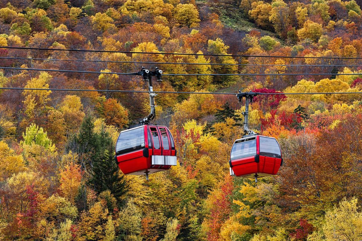 gondola sightseeing stowe vermont in autumn