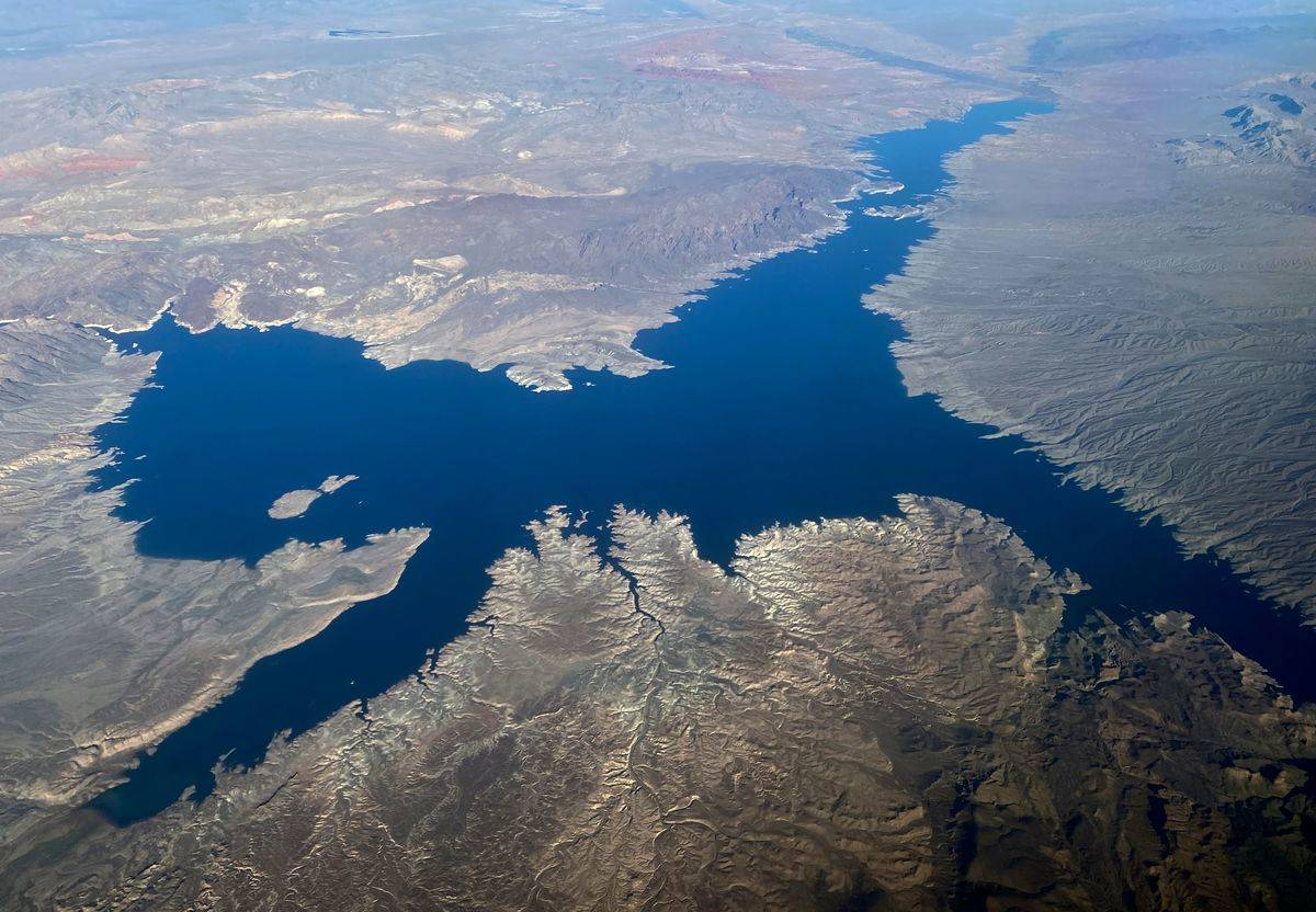 This aerial view shows Lake Mead in Nevada