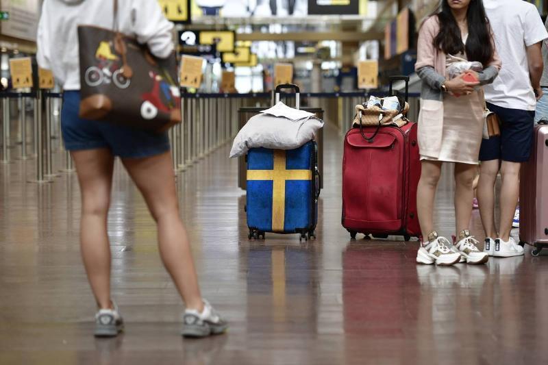 passengers in swedish airport