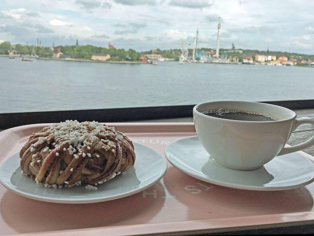 sweden fika coffee and cinnamon bun