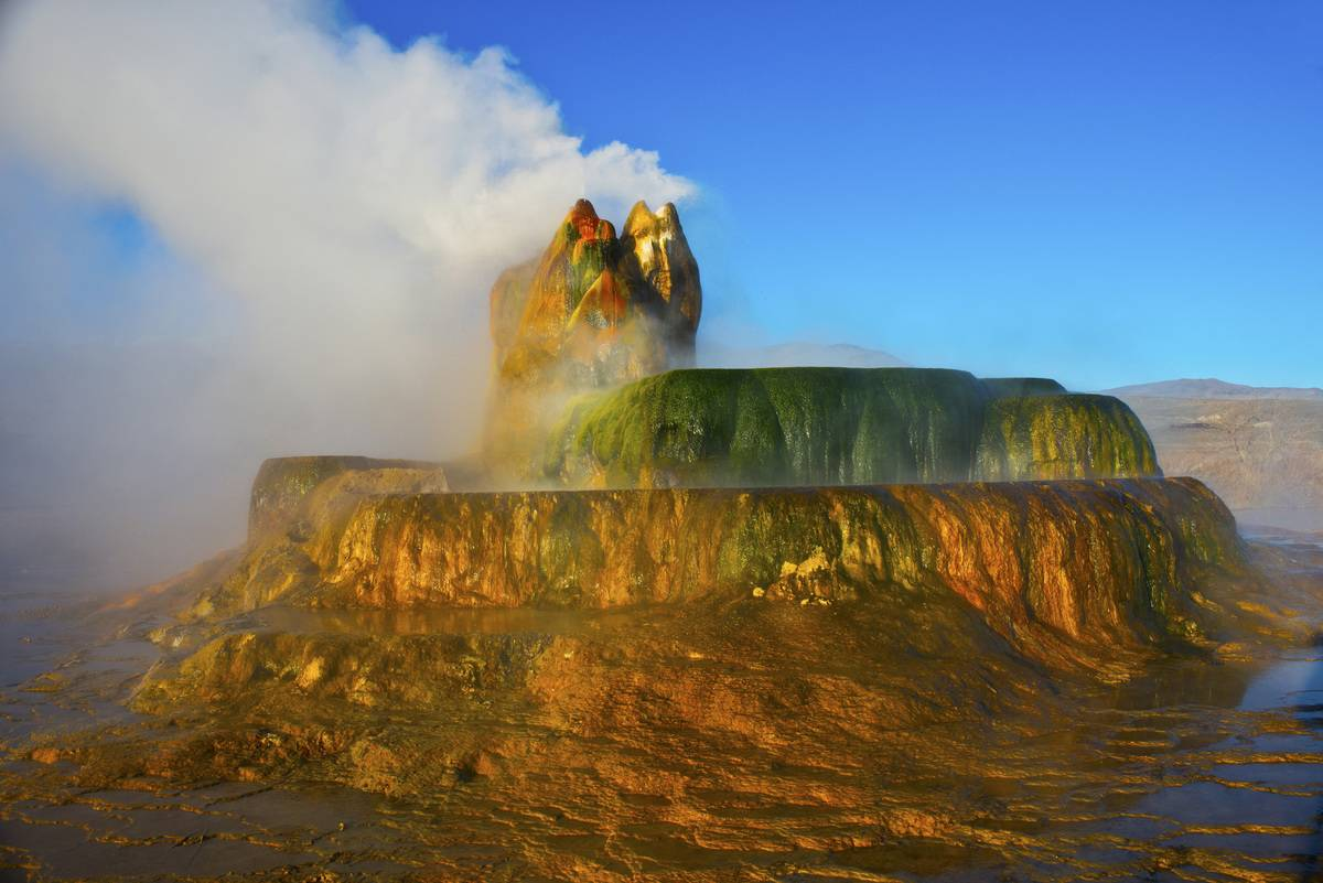 photo of colorful rock erupting