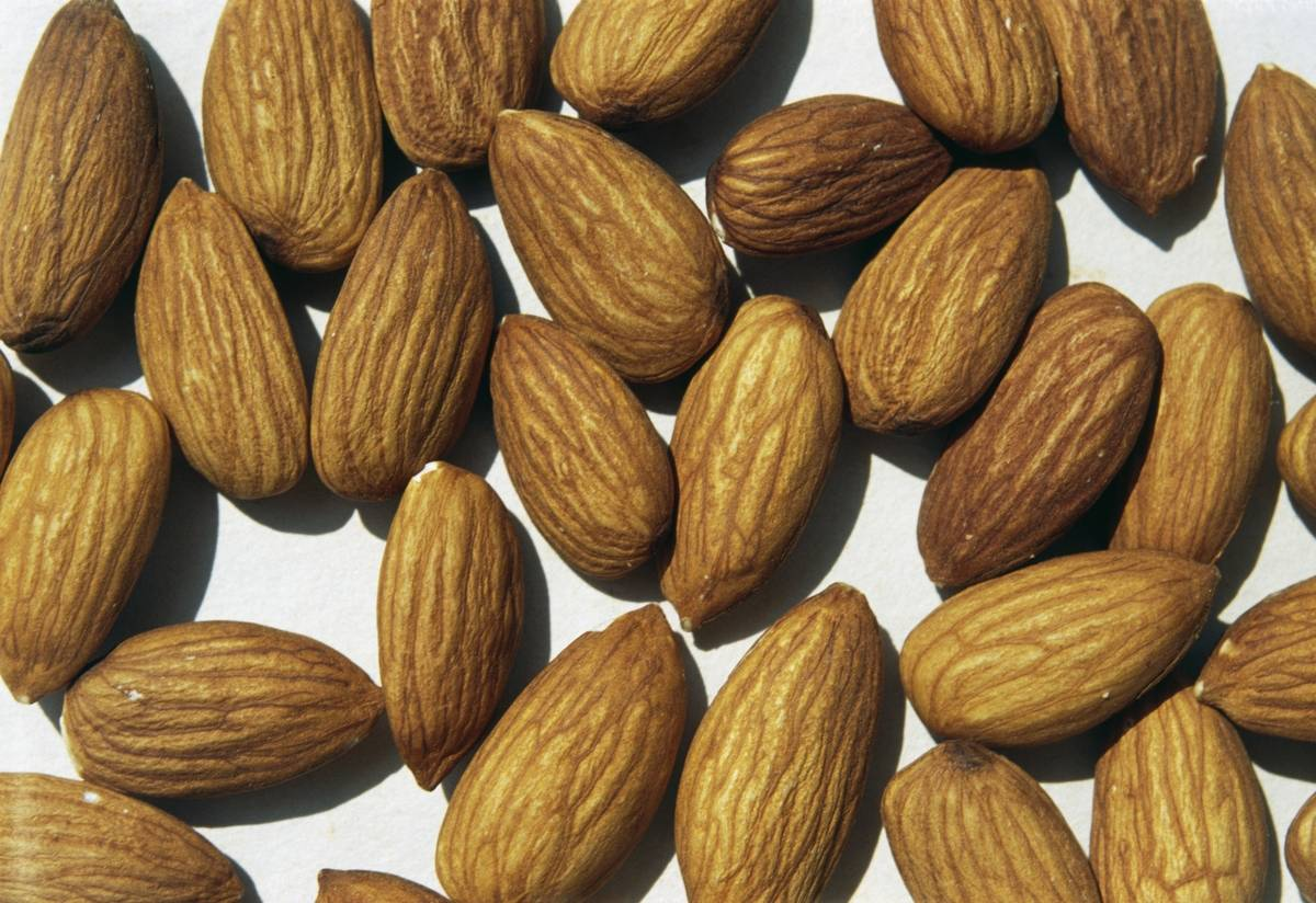 Almonds, edible seeds of almond