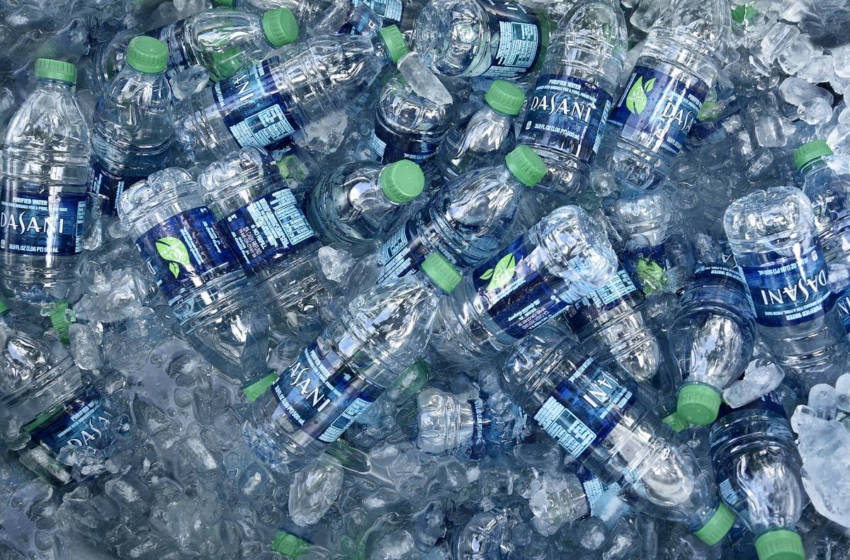 water bottles in pile