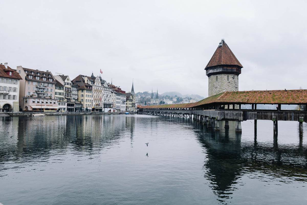 Cloudy day in Town in Switzerland
