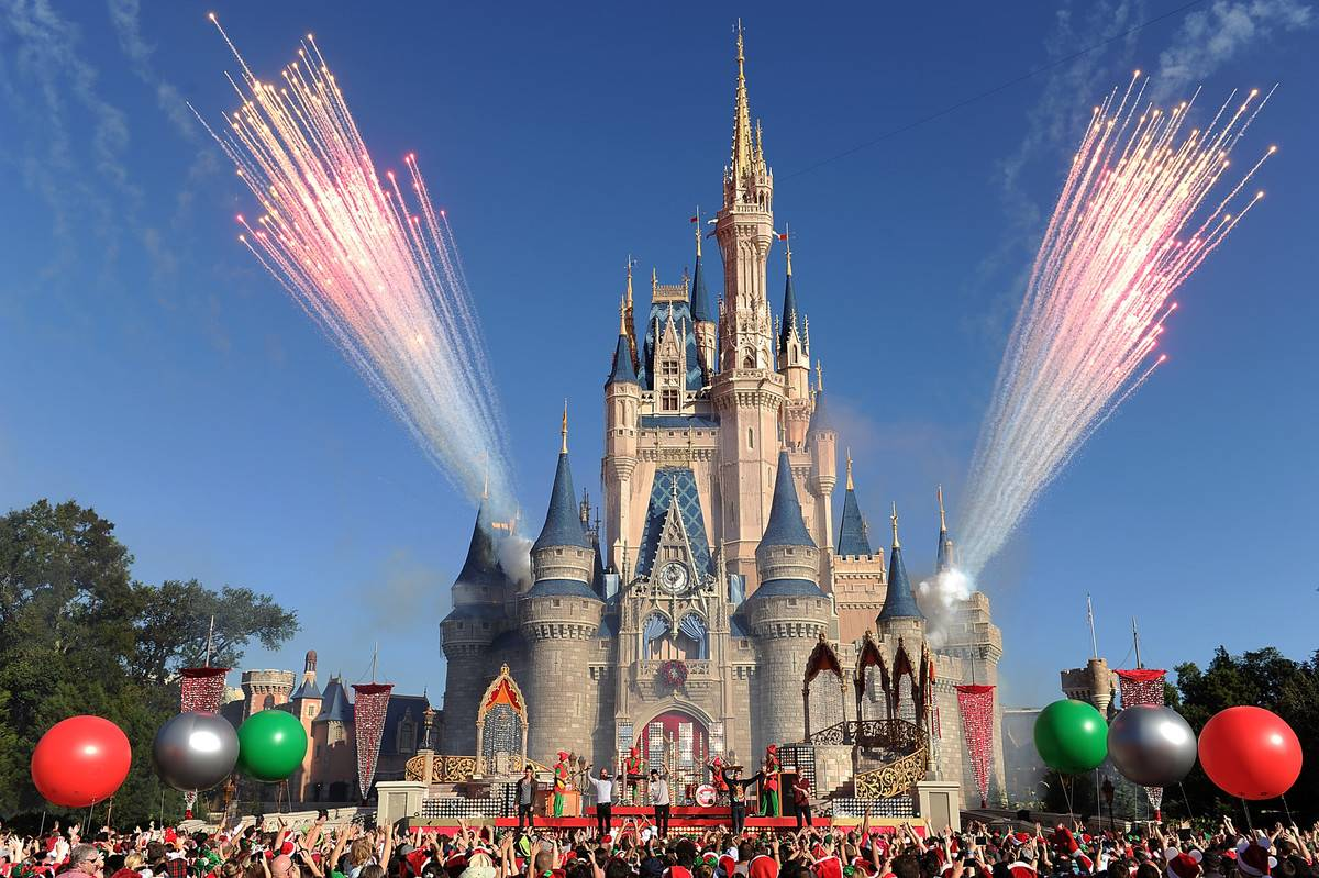 Magic kingdom castle in disney world with fireworks in background