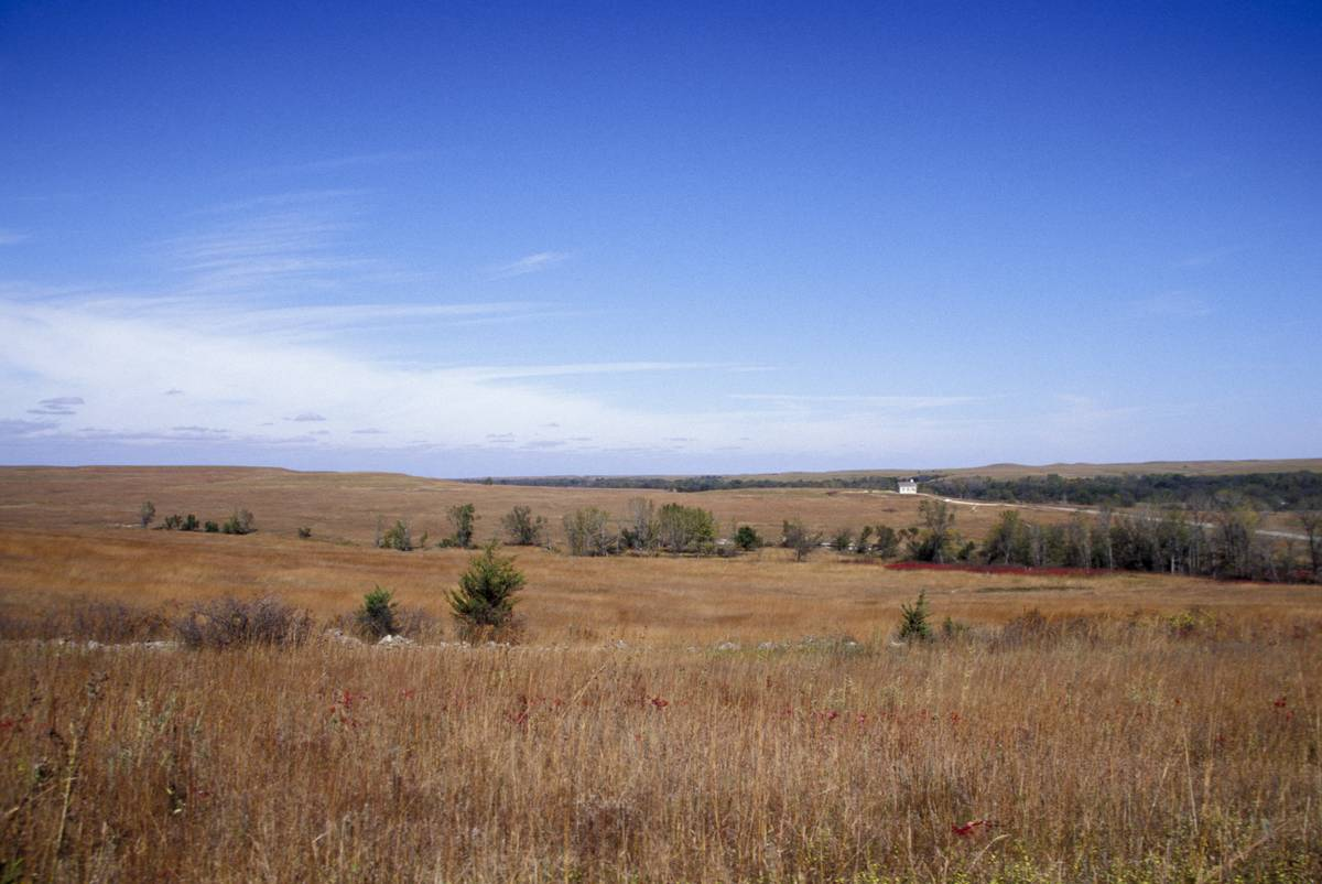 Kansas, Tallgrass Prairie National Preserve,Lower Fox Creek Schoolhouse In Distance.