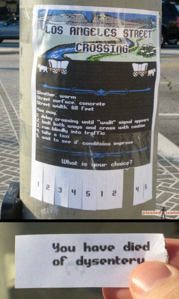 A sign in Los Angeles allows people to pick an option in a choose-your-own-adventure game.