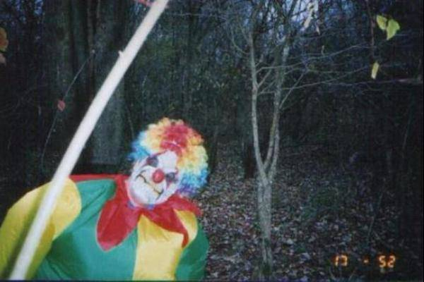 creepy clown in the forest