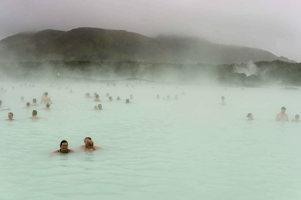 The Blue Lagoon is a geothermal spa located in a lava field...