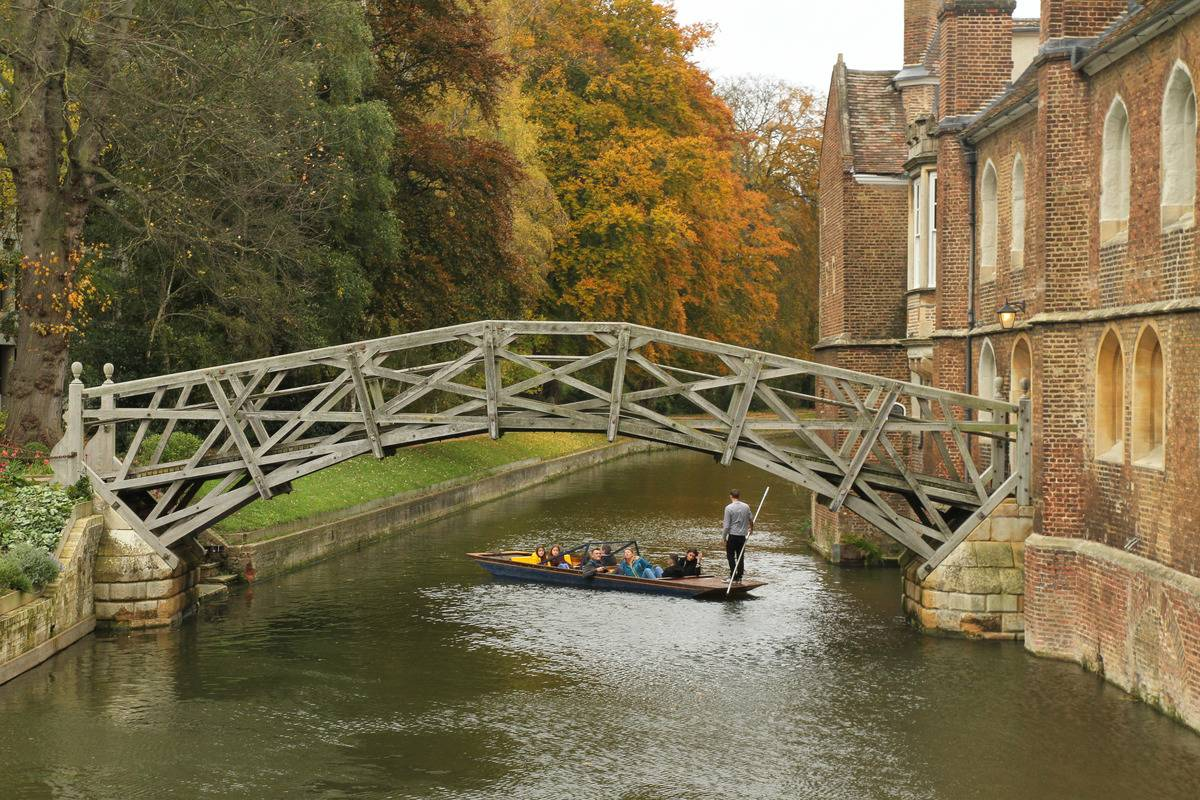 Mathematical Bridge Is Completely Made A Straight Timber Wood