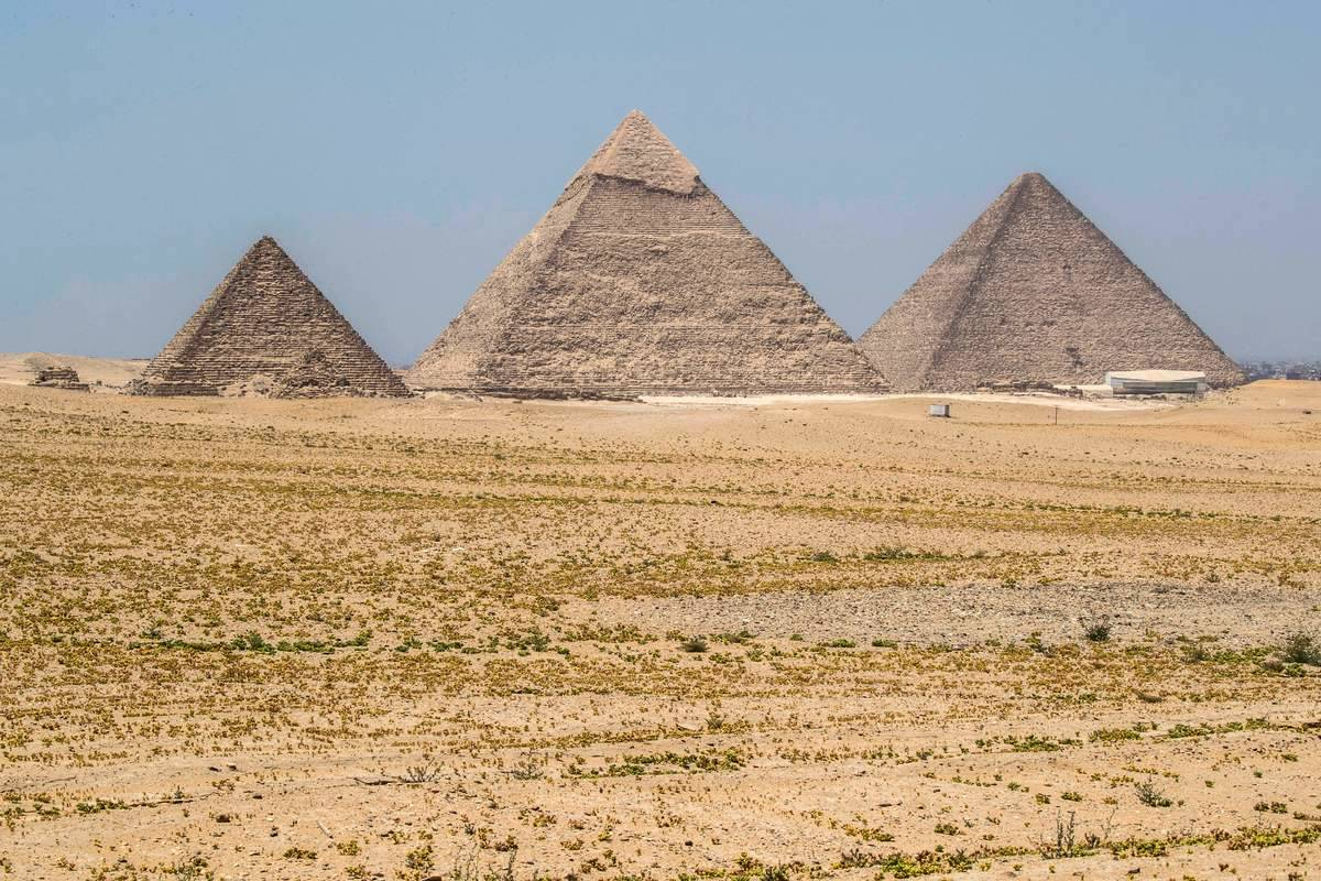 A view of the Great Pyramids of Giza appears empty during the lockdown of 2020.