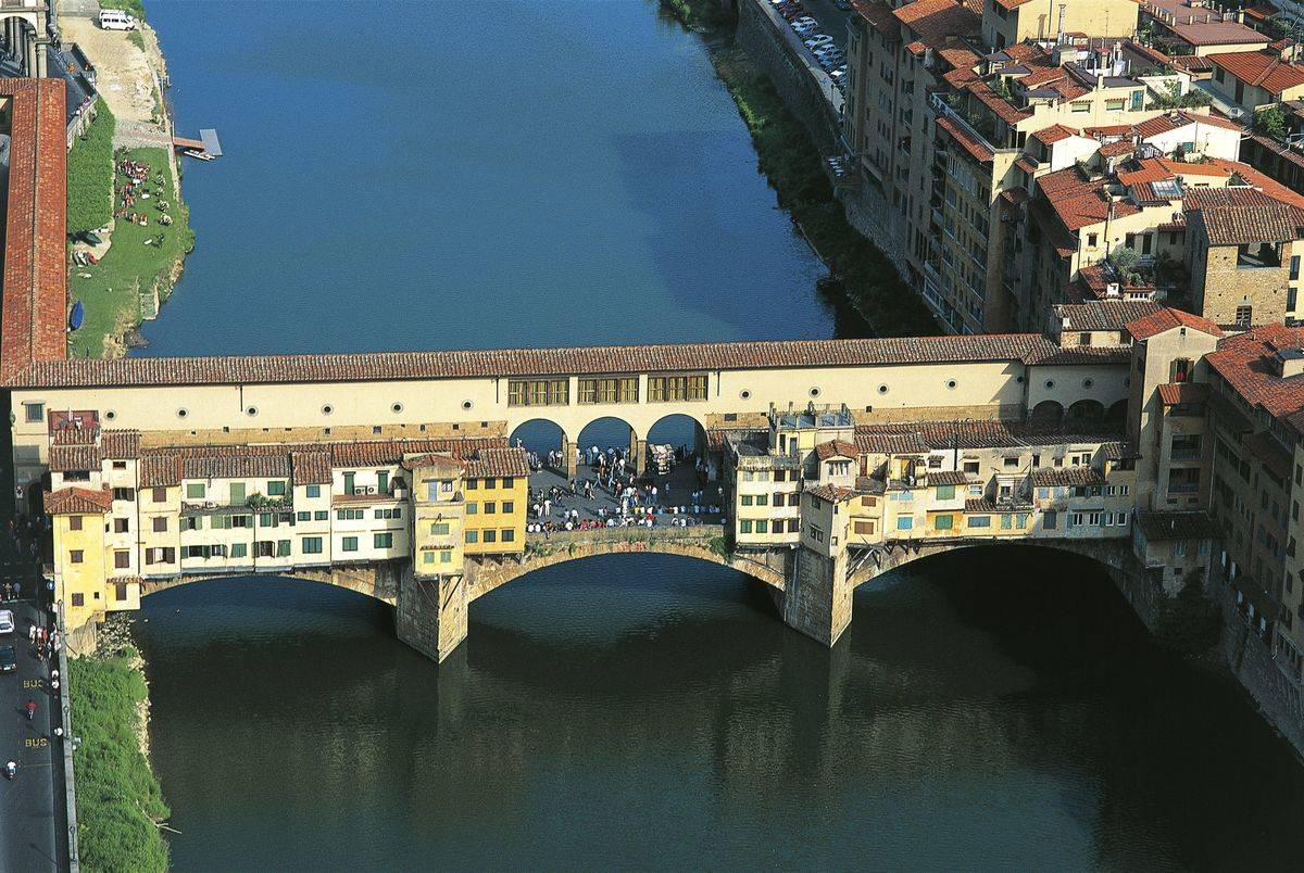 Aerial view of Ponte Vecchio, Florence