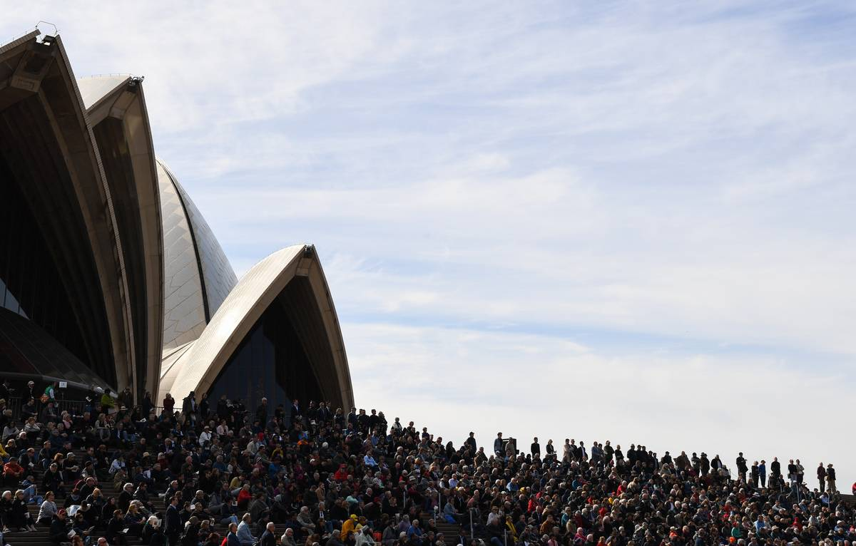 Hundreds of people gather for a Bob Hawke memorial service at the Sydney Opera House, 2019.