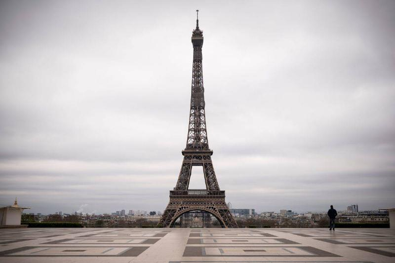 The Eiffel Tower is devoid of people during the 2020 lockdown.