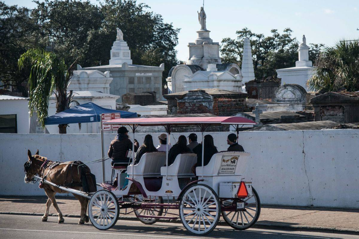 A horse-drawn carriage passes St. Louis cemetery, New Orleans.