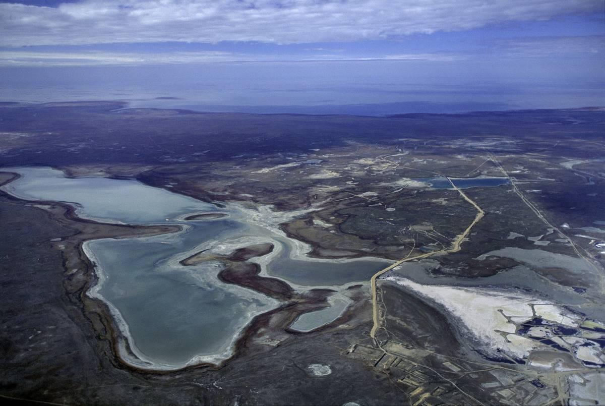 Salt deposits sit where the Ural River meets the Caspian Sea.