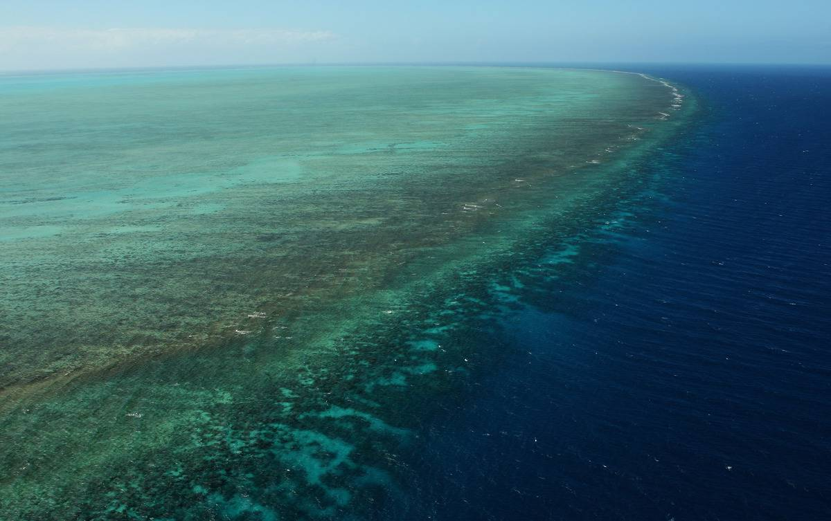 An aerial view shows the Great Barrier Reef.