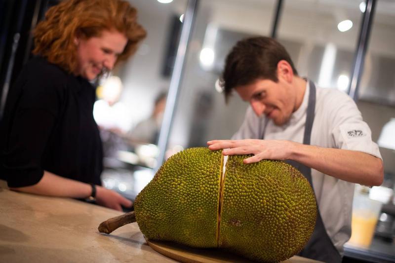 Two chefs cut a jackfruit open.