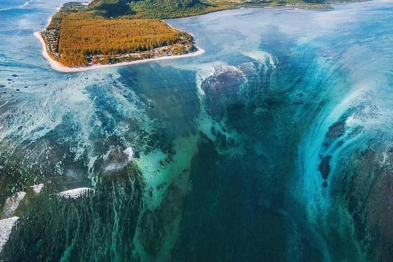 The Underwater waterfall is seen at the Denmark strait.