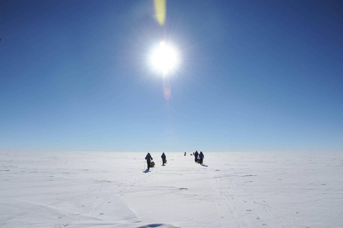 A team of geographers cross Antarctica.