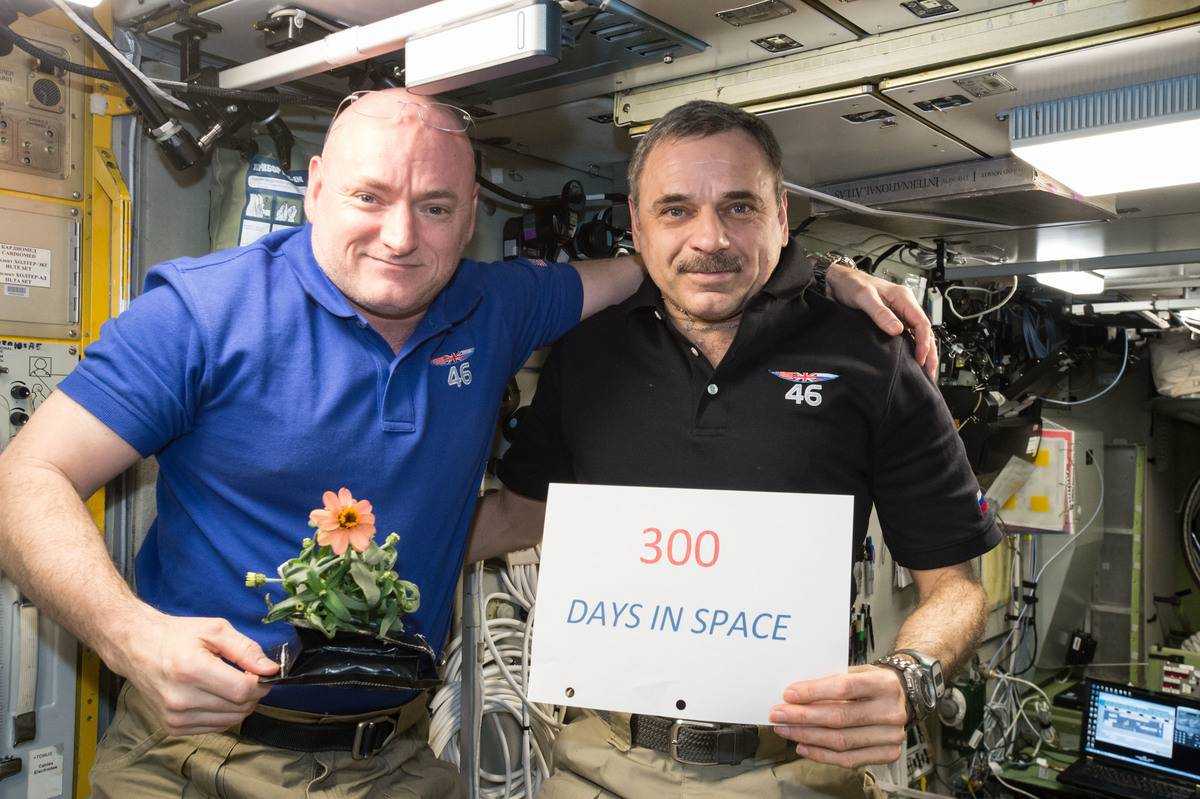 Scott Kelly of NASA (left) and Mikhail Kornienko of Roscosmos (right) celebrate their 300th consecutive day in space with a sign.