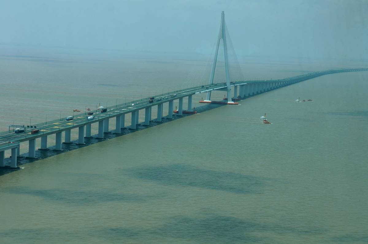 The Danyang Kunshan Grand Bridge is seen over marches in China.