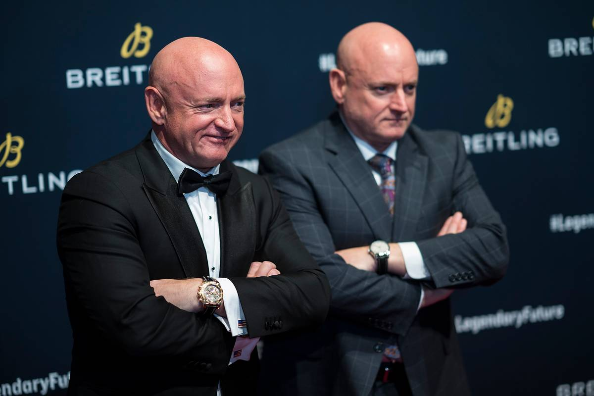 Mark Kelly (L) and Scott Kelly attend Breitling Celebrates The North American Stopover.