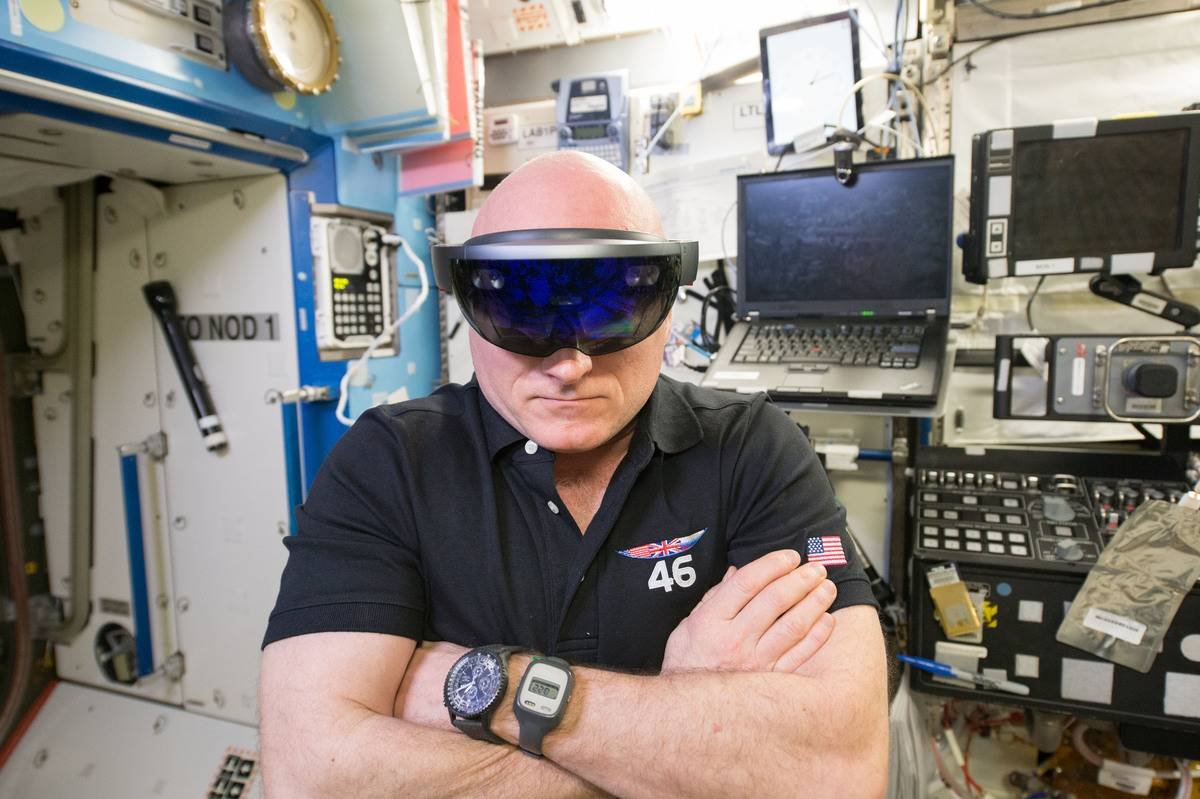 Scott Kelly wears special glasses while in the International Space Station in space.