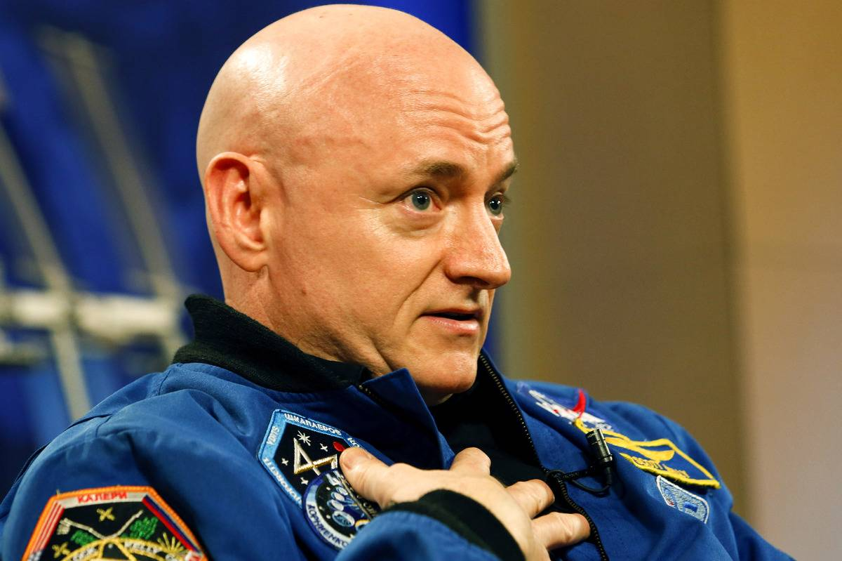Astronaut Scott Kelly interviews with the media after returning from one year in space.