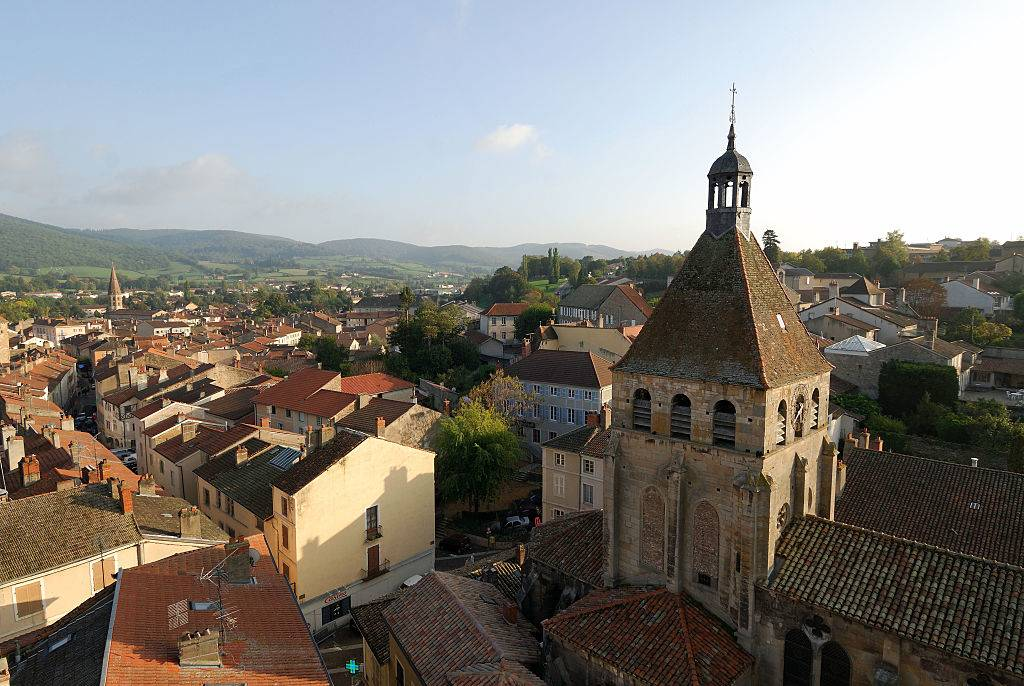 Rooftop view over the city of Cluny and the steeple of Notre-Dame Church