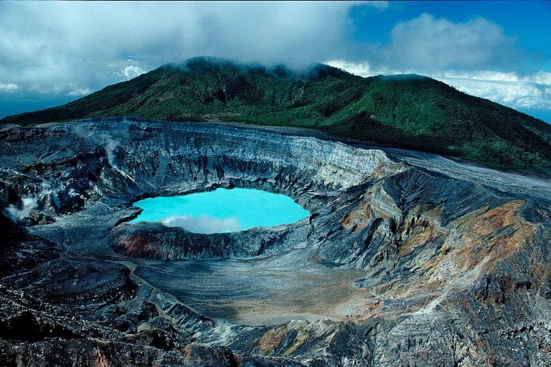 Crater of the Poas Volcano in Cocos Island, Costa Rica