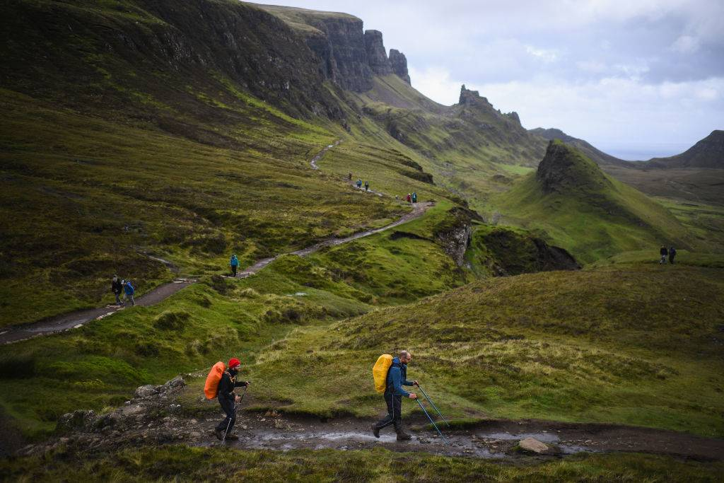 Tourists visit the Quiraing on the Isle of Skye