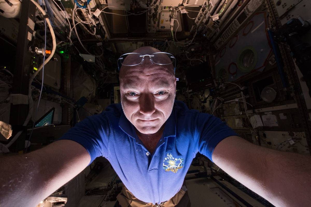 Scott Kelly takes a selfie in the rocket before he launches into space.