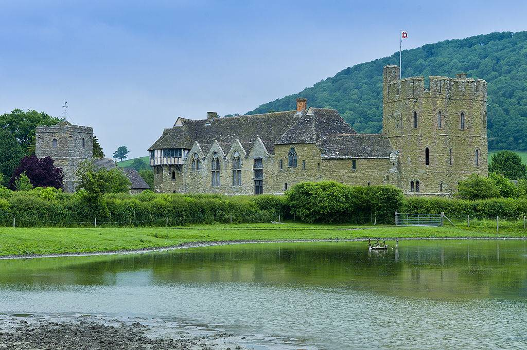 Stokesay Castle and church, fortified medieval manor with timber framed gatehouse in Shropshire, England