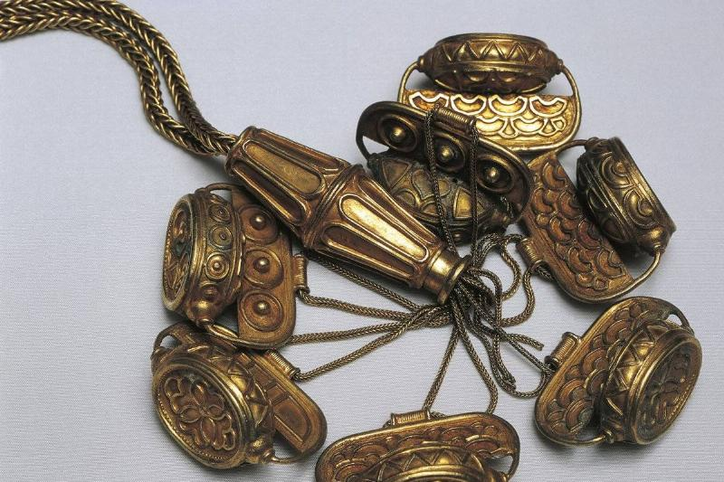 Spain, Madrid, Gold necklace with pendants, Carambolo Treasure found in Camas, Spain.